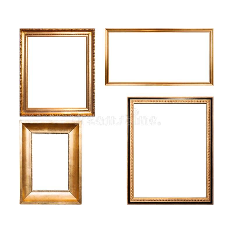 Reeks van vier lege houten kaders stock foto