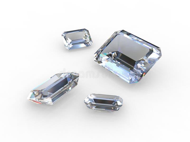 Reeks van vier lichtblauwe diamanten royalty-vrije illustratie
