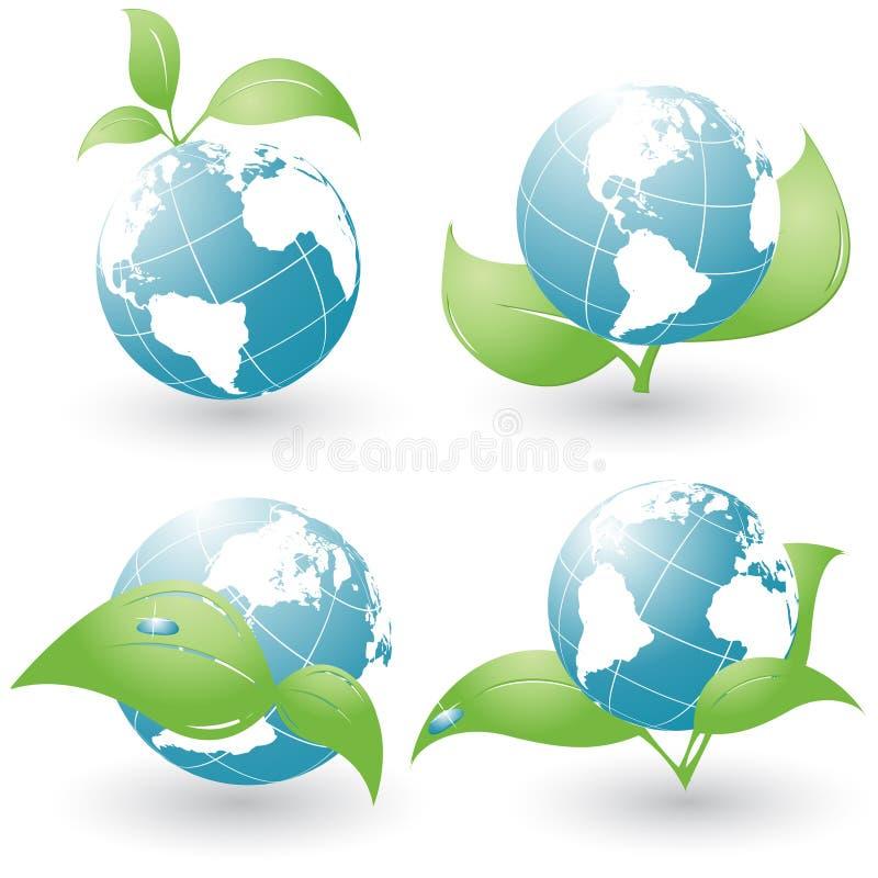 Reeks van vier milieupictogrammen stock illustratie