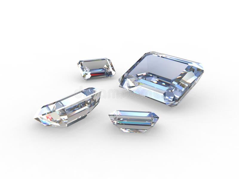 Reeks van vier mooie diamanthalfedelstenen royalty-vrije illustratie
