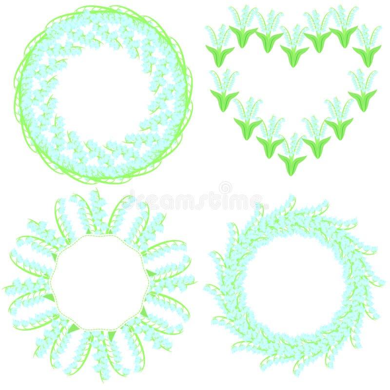 Reeks van vier mooie ronde die kaders van lelietje-van-dalen worden gemaakt vector illustratie