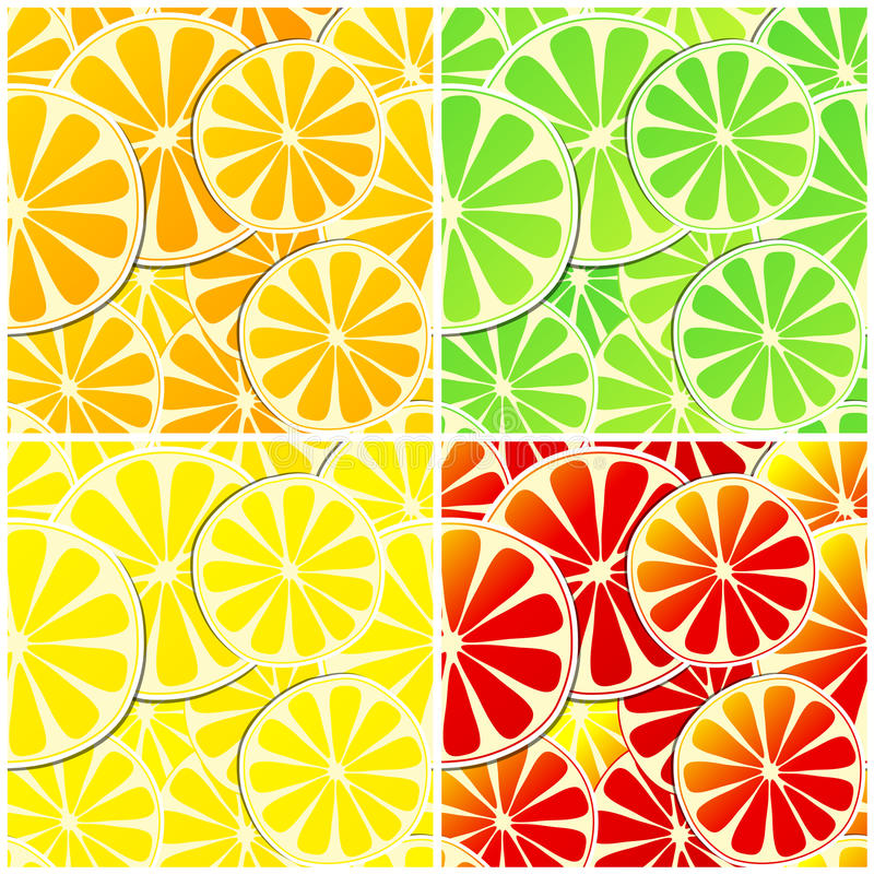 Reeks van vier naadloze citrusvruchtenachtergrond royalty-vrije illustratie