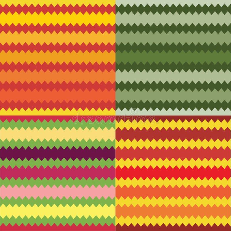 Reeks van vier naadloze gestreepte geometrische patronen vector illustratie