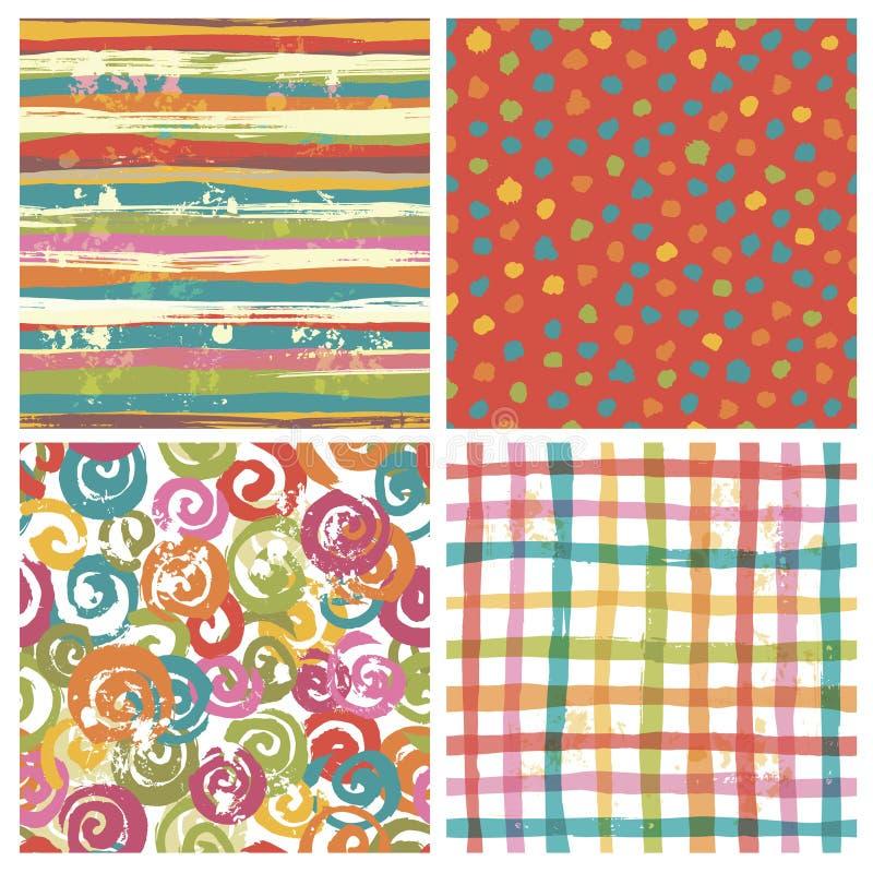 Reeks van vier naadloze heldere patronen stock illustratie