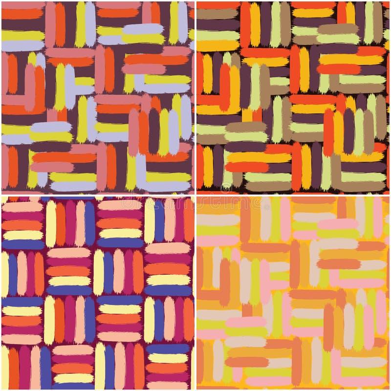 Reeks van vier naadloze patronen van het grunge gestreepte kleurrijke penseel royalty-vrije illustratie