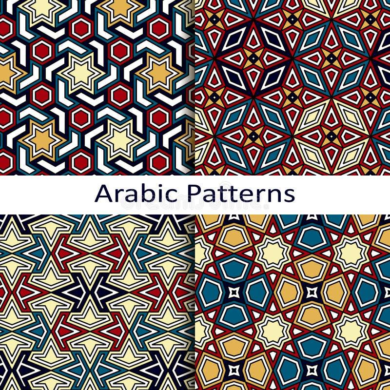 Reeks van vier naadloze vector Arabische patronen stock illustratie