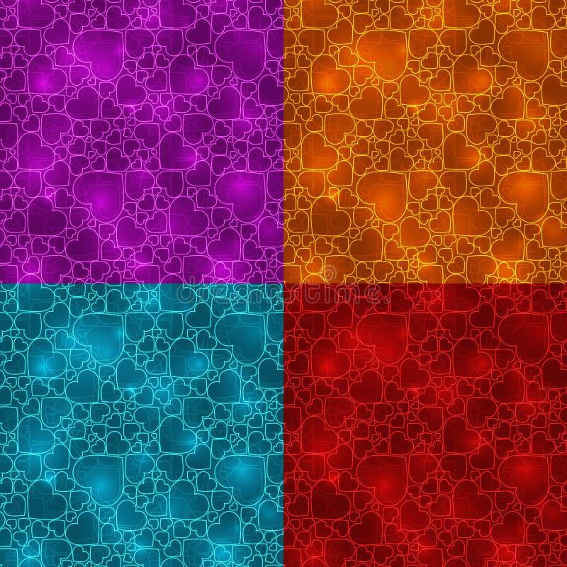Reeks van vier neon kleurrijke naadloze patronen met harten vector illustratie