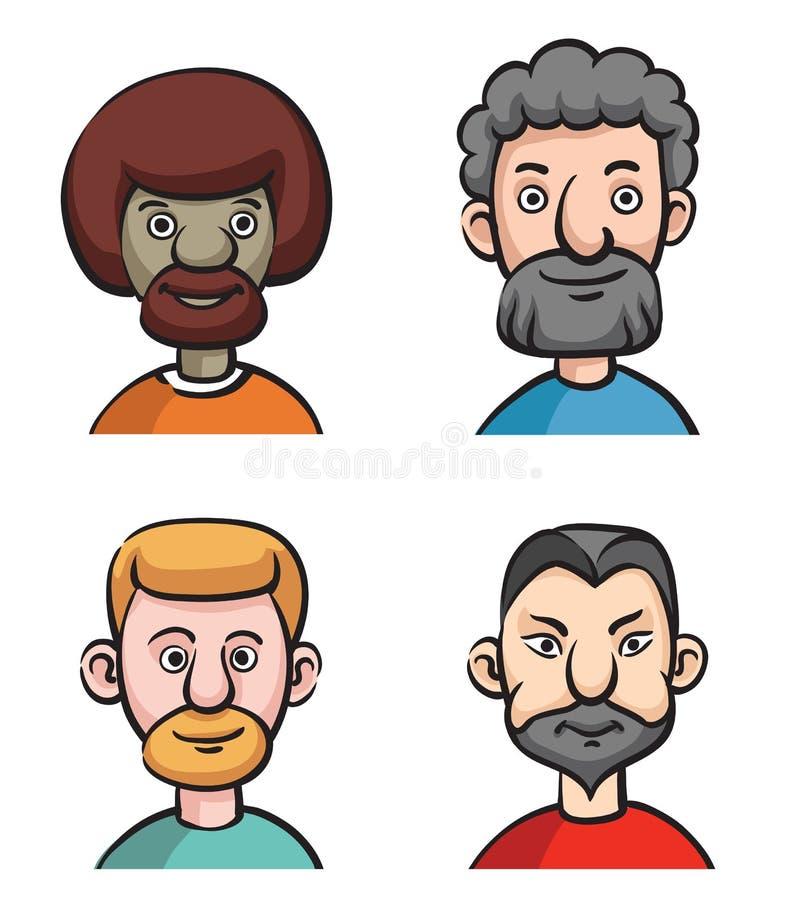 Reeks van vier portretten van gebaarde mensen stock illustratie