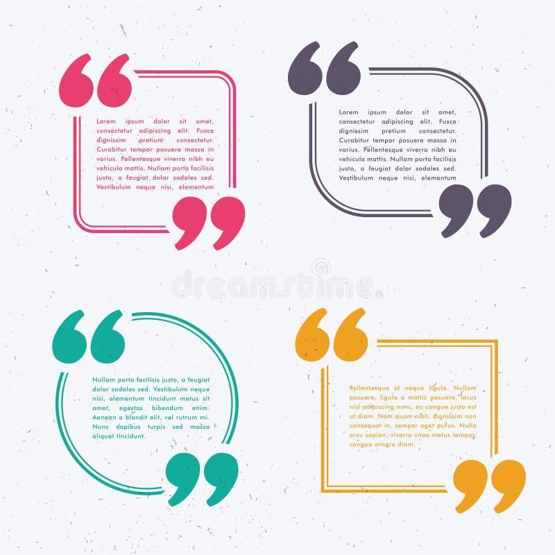 Reeks van vier praatjebel in verschillende kleuren en vormen stock illustratie