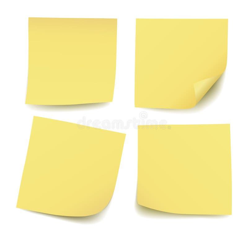 Reeks van vier realistische lege vector gele die post-itnota's op witte achtergrond worden geïsoleerd vector illustratie