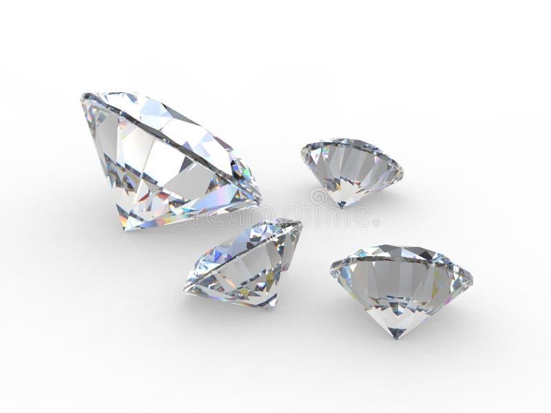 Reeks van vier ronde diamanthalfedelstenen vector illustratie