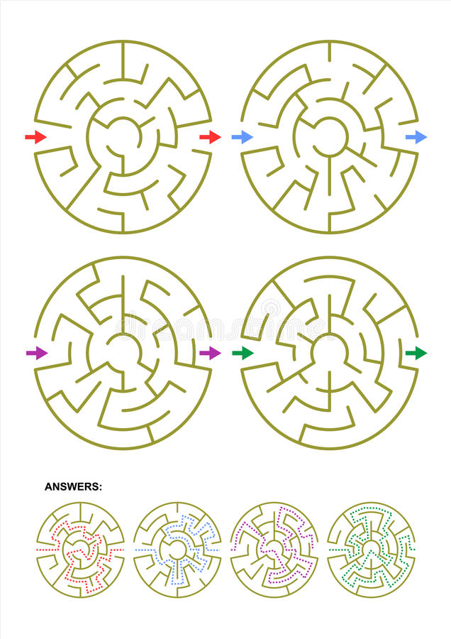 Reeks van vier ronde malplaatjes van het labyrintspel met antwoorden royalty-vrije illustratie