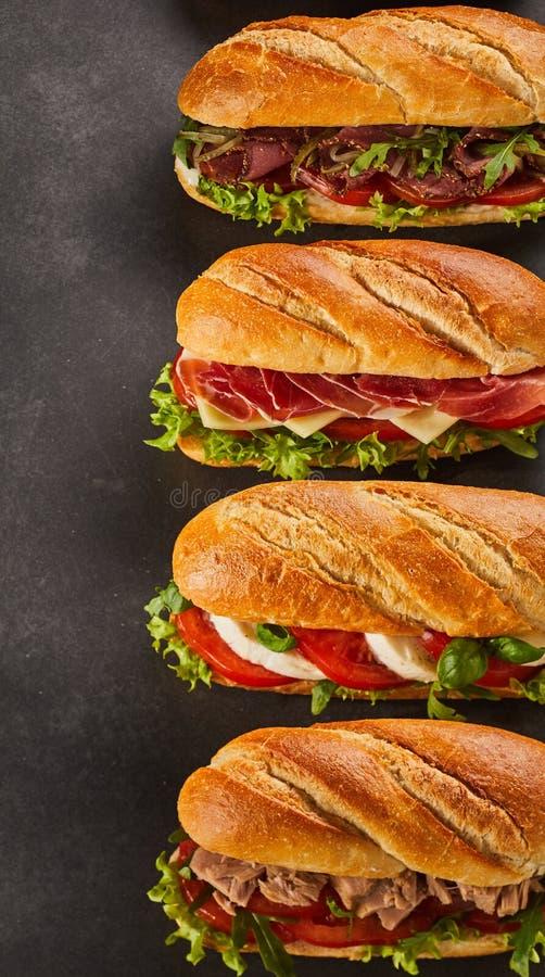 Reeks van vier sandwiches van de delicatessenwinkelstijl royalty-vrije stock foto