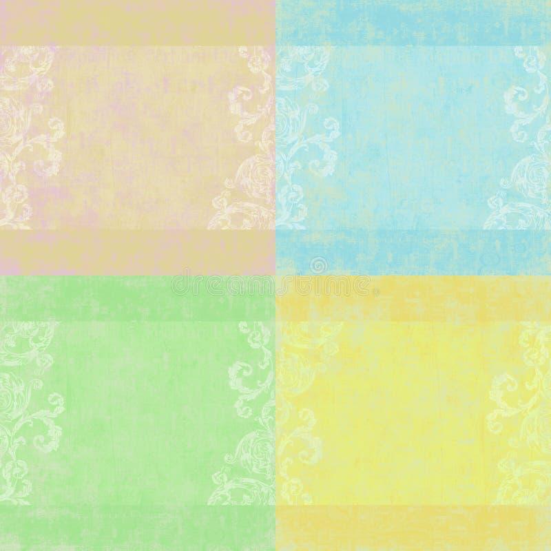 Reeks van vier sjofele bloemenachtergronden stock illustratie