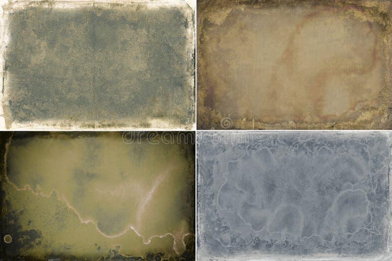Reeks van vier texturen van het grungekader royalty-vrije stock foto