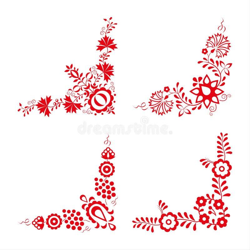 Reeks van vier traditionele volksornamenten, volks decoratief patroon stock illustratie