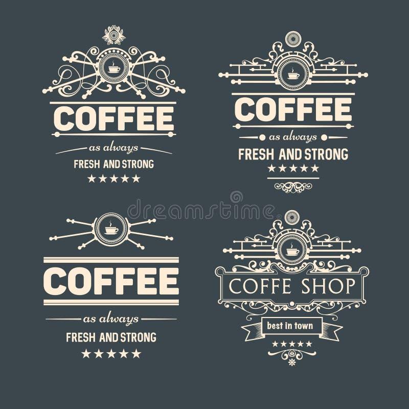 Reeks van vier vector in koffiekentekens en etiketten vector illustratie