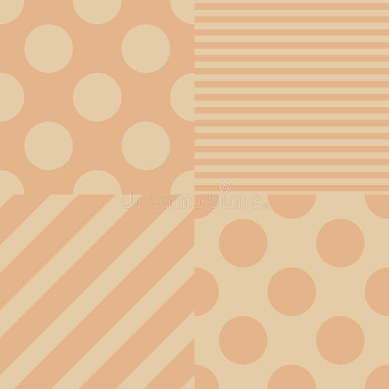 Reeks van vier vector naadloze patronen Beige en roze kleuren royalty-vrije illustratie