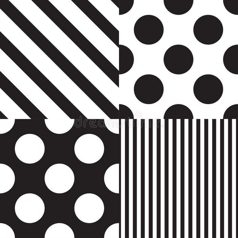 Reeks van vier vector naadloze patronen Zwart-witte kleuren vector illustratie