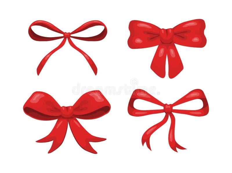 Reeks van vier vectorbeeldverhaal rode die bogen op witte achtergrond worden geïsoleerd vector illustratie