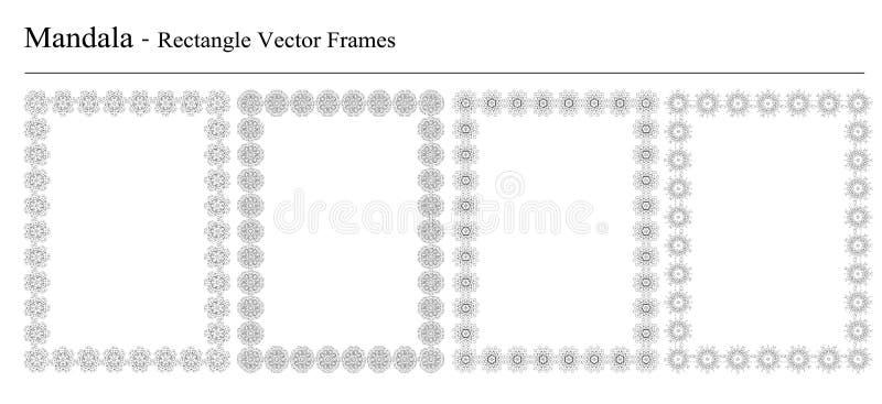 Reeks van vier vectorkaders van Mandala royalty-vrije illustratie
