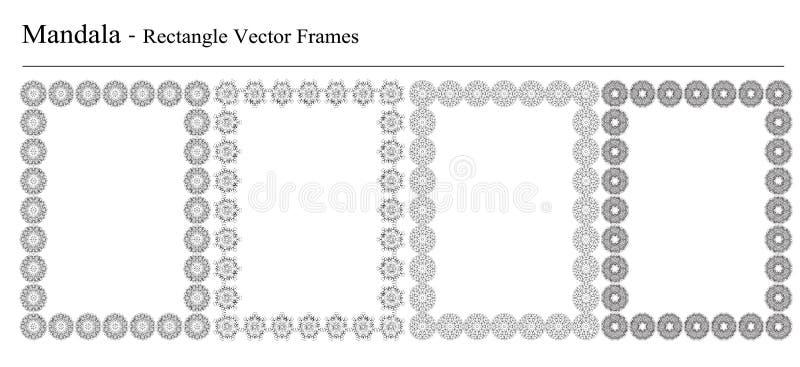 Reeks van vier vectorkaders van Mandala vector illustratie