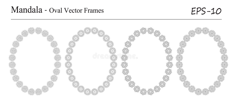 Reeks van vier vectorkaders van Mandala stock illustratie