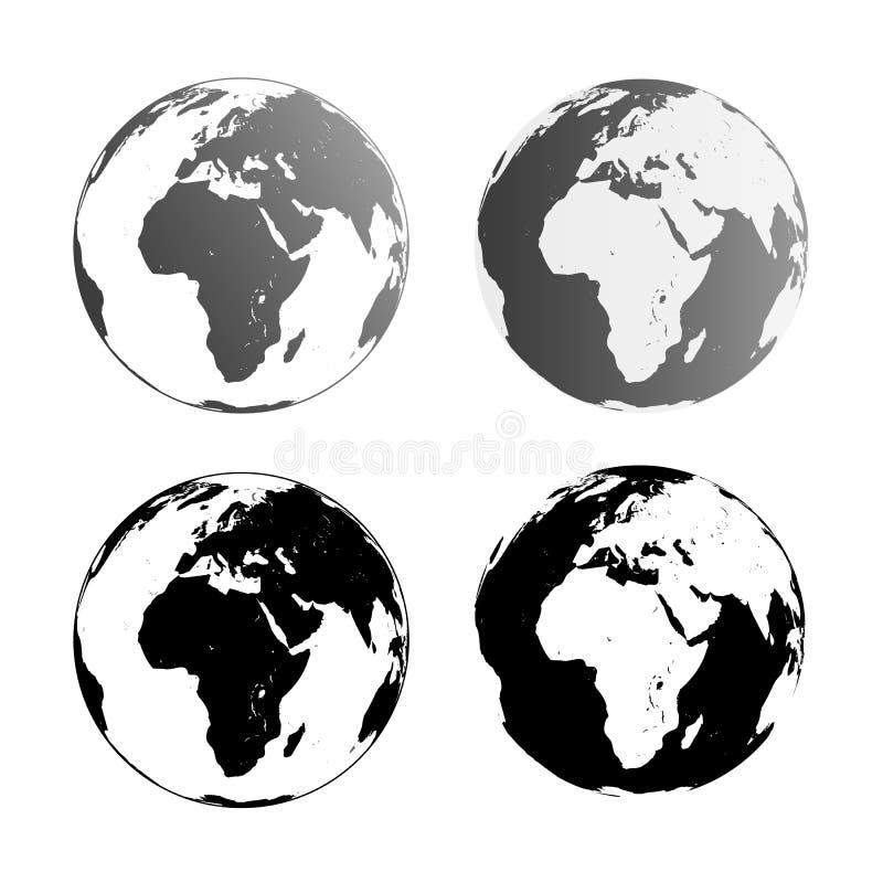 Reeks van vier vectorpictogrammen van de wereldbol die op witte achtergrond wordt geïsoleerd royalty-vrije illustratie