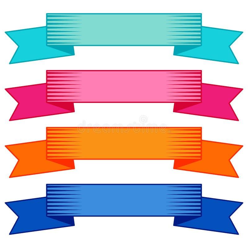 Reeks van vier veelkleurige linten en banners voor Webontwerp vector illustratie