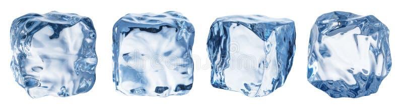 Reeks van vier verschillende ijsblokjegezichten Knippende weg stock foto