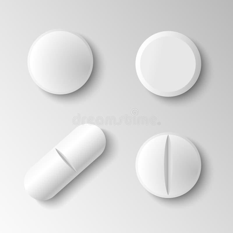 Reeks van vier verschillende vector realistische witte die pillen op g wordt geïsoleerd vector illustratie