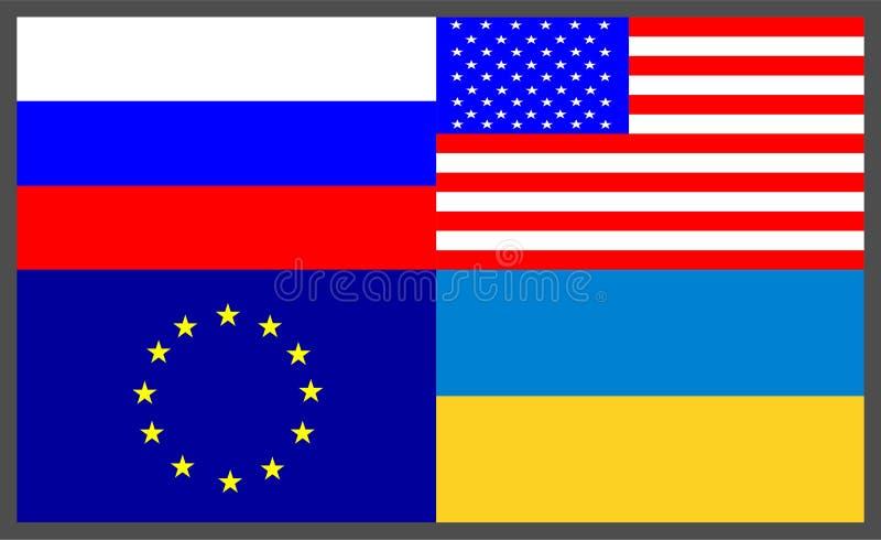 Reeks van Vier Vlaggenpictogrammen: Europese Unie de EU, de Oekraïne RE, Rusland ru, verenigt Staten van Amerika de V.S. vector illustratie