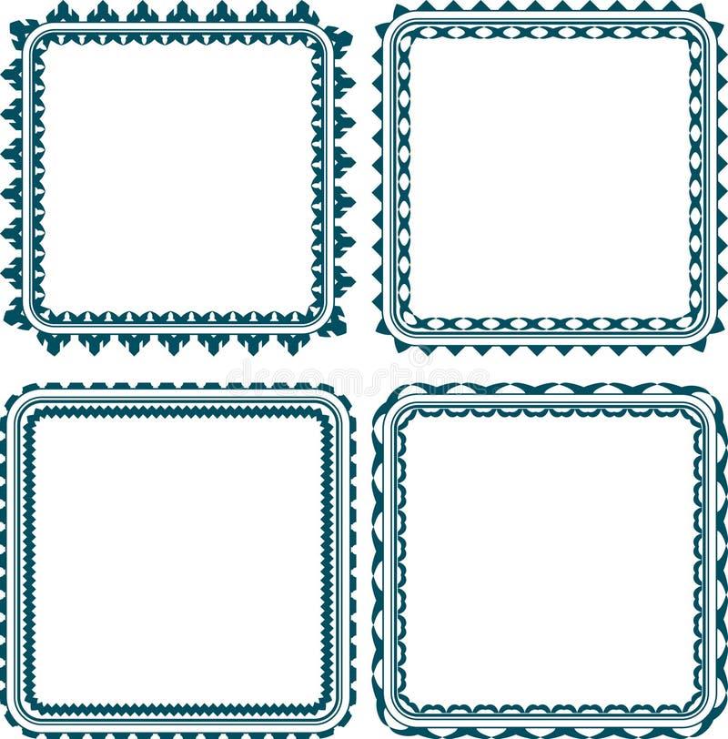 Reeks van vierkant kader 4 met ronde hoeken stock illustratie