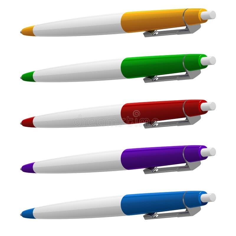 Reeks van vijf gekleurde ballpointen met knopen en metaalklemmen vector illustratie