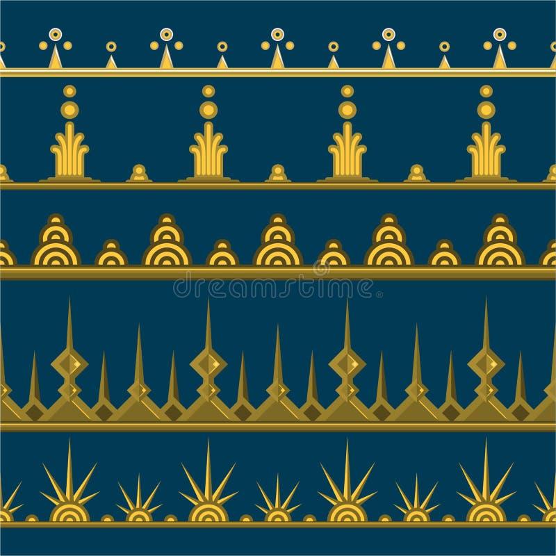 Reeks van vijf gouden paterns stock illustratie
