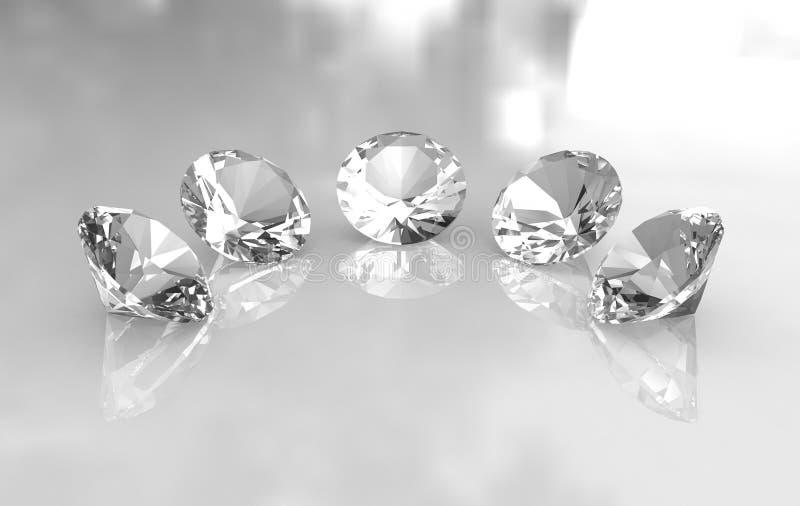 Reeks van vijf mooie ronde diamanten stock illustratie