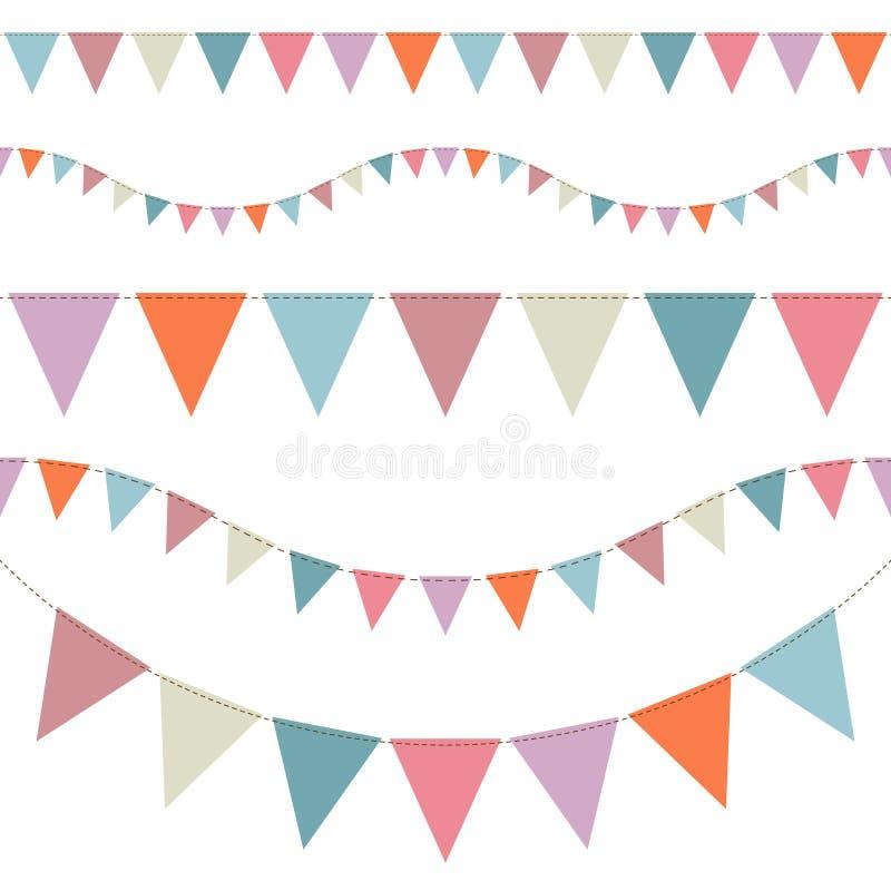 Reeks van Vijf Naadloze Buntings Verschillende Retro Kleuren vector illustratie