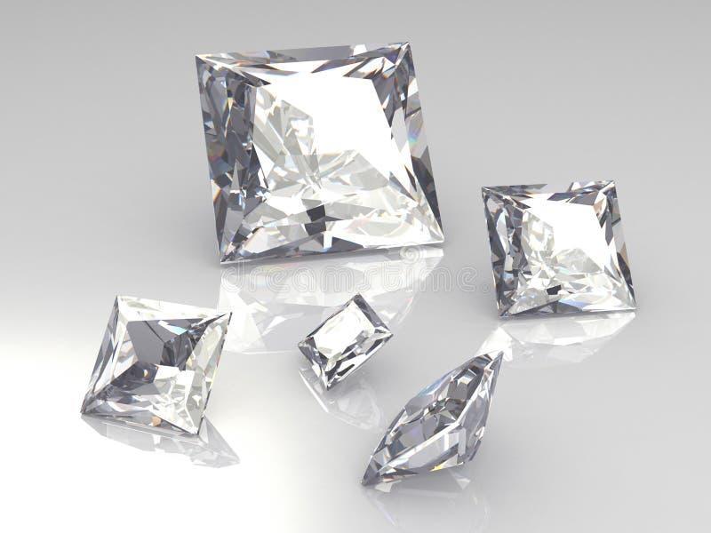 Reeks van vijf vierkante 3D diamantstenen - royalty-vrije illustratie