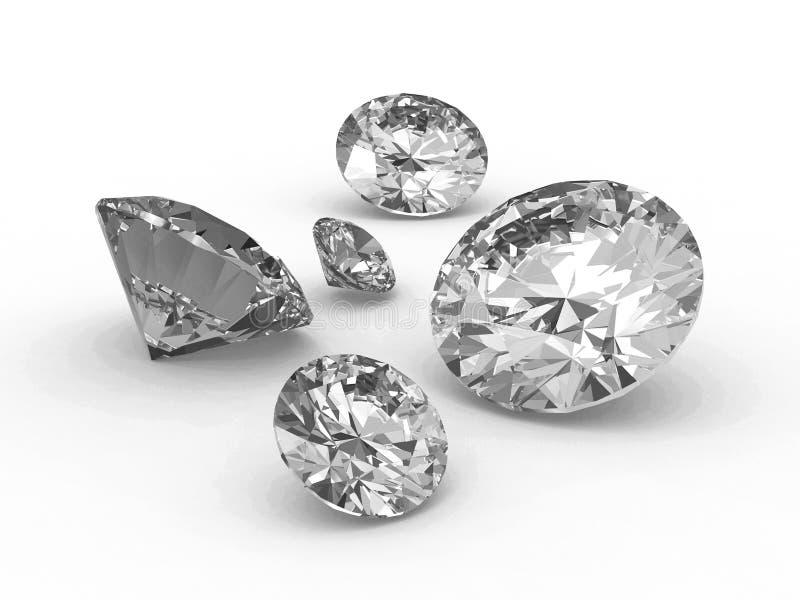 Reeks van vijf witte ronde diamanten stock illustratie