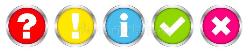 Reeks van Vijf Zilveren Vinkjeskleur van de Knopen Vraag- en antwoord Informatie stock illustratie