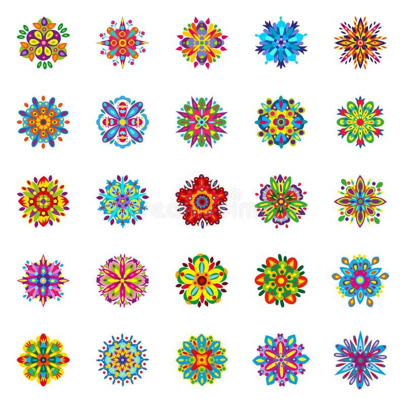 Reeks van vijfentwintig geïsoleerde symmetrische multicolored bloemen die uit geometrische elementen bestaan vector illustratie
