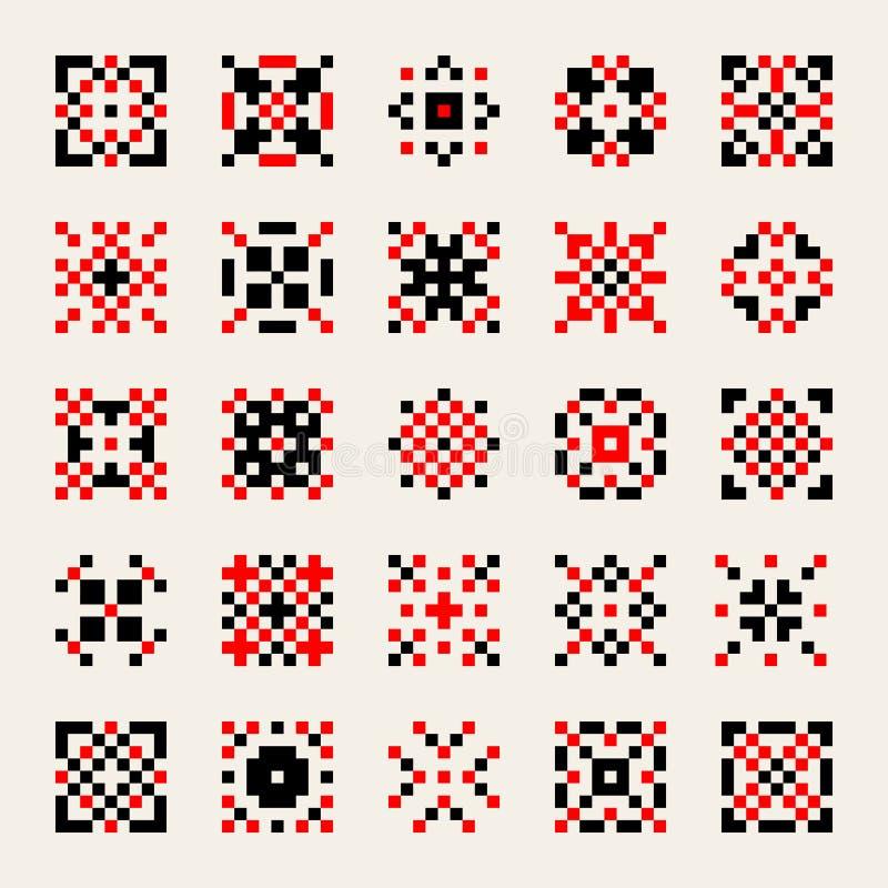 Reeks van Vijfentwintig Vector Zwarte Rode Witte Oekraïense Traditionele Geometrische Elementen van het dwars-Steekpatroon vector illustratie