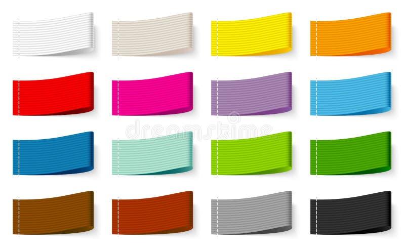 Reeks van Vijftien de Textiel Stikkende Mengeling van de Etiket Gestreepte Kleur royalty-vrije illustratie