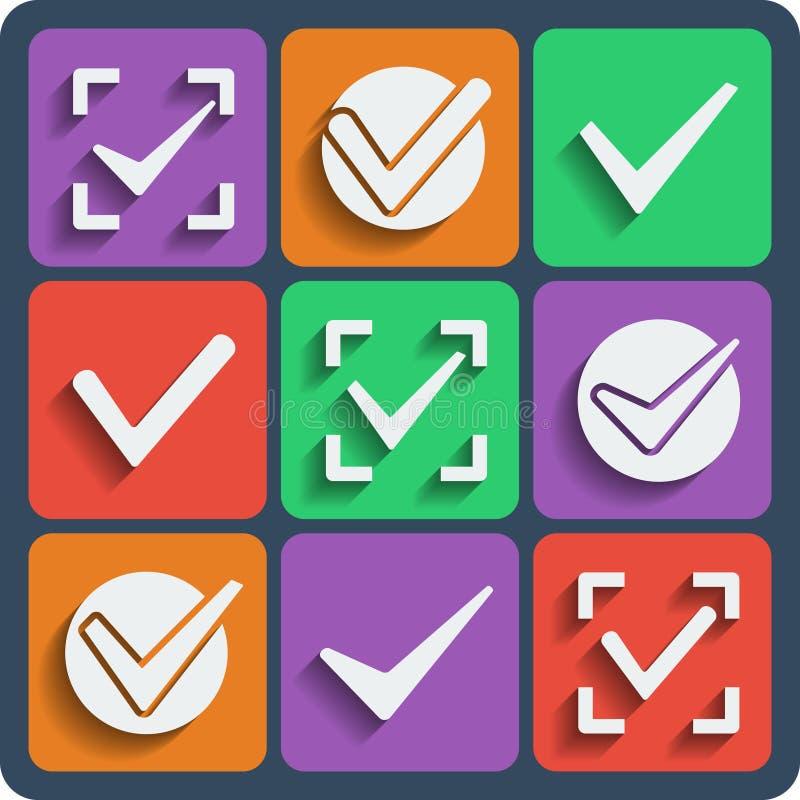 Reeks van 9 vinkjes Web en mobiele pictogrammen Vector stock illustratie