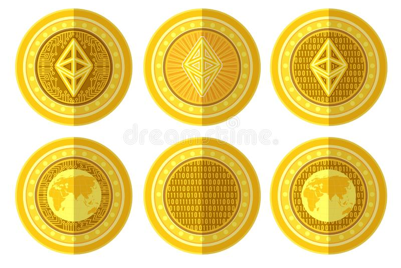 Reeks van vlak gouden muntstuk met het teken achter en voorkant van bitcoinethereum Vectordieillustratie op wit wordt ge?soleerd royalty-vrije illustratie