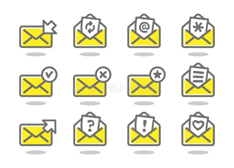 Reeks van vlakke e-mailpictogrammen gele reeks royalty-vrije illustratie