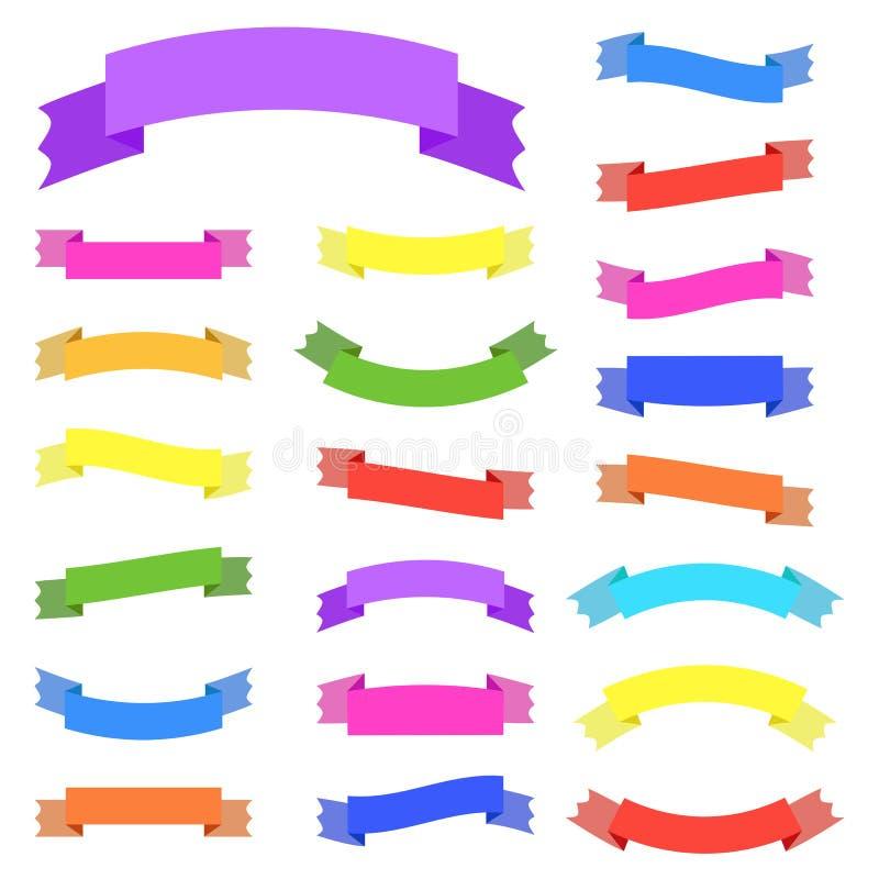 Reeks van 21 vlakke kleur geïsoleerde vectorlintbanner geschikt voor ontwerp stock illustratie