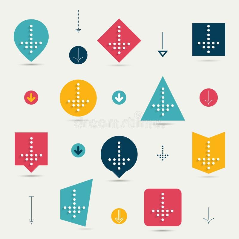 Reeks van vlakke minimalistic pijl, downloadpictogram. vector illustratie