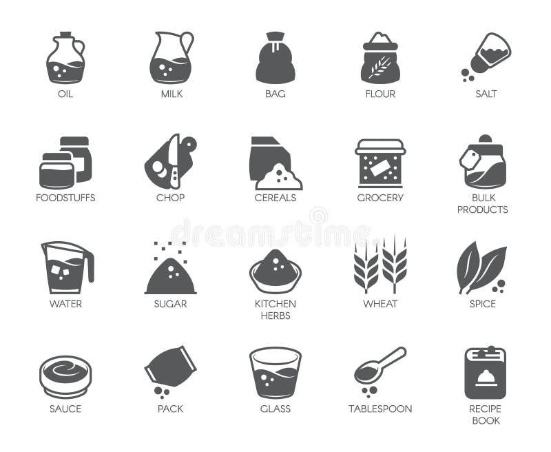 Reeks van 20 vlakke pictogrammen op het kokenthema Ingrediënten voor het koken en keukentoebehoren Vector illustratie royalty-vrije illustratie