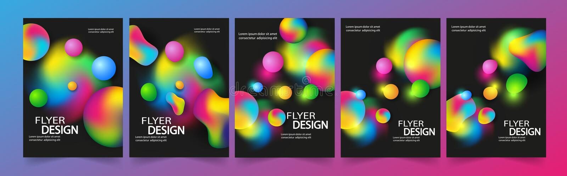 Reeks van vliegermalplaatje of collectief bannerontwerp met Bellen, de Lay-out van het Brochuremalplaatje voor Jaarverslag of Bed vector illustratie